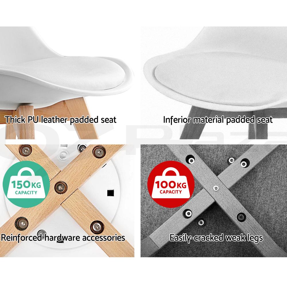 4 x Artiss Retro Replica Eames DSW Dining Chairs DAW Armchair Foam Padded Fabric