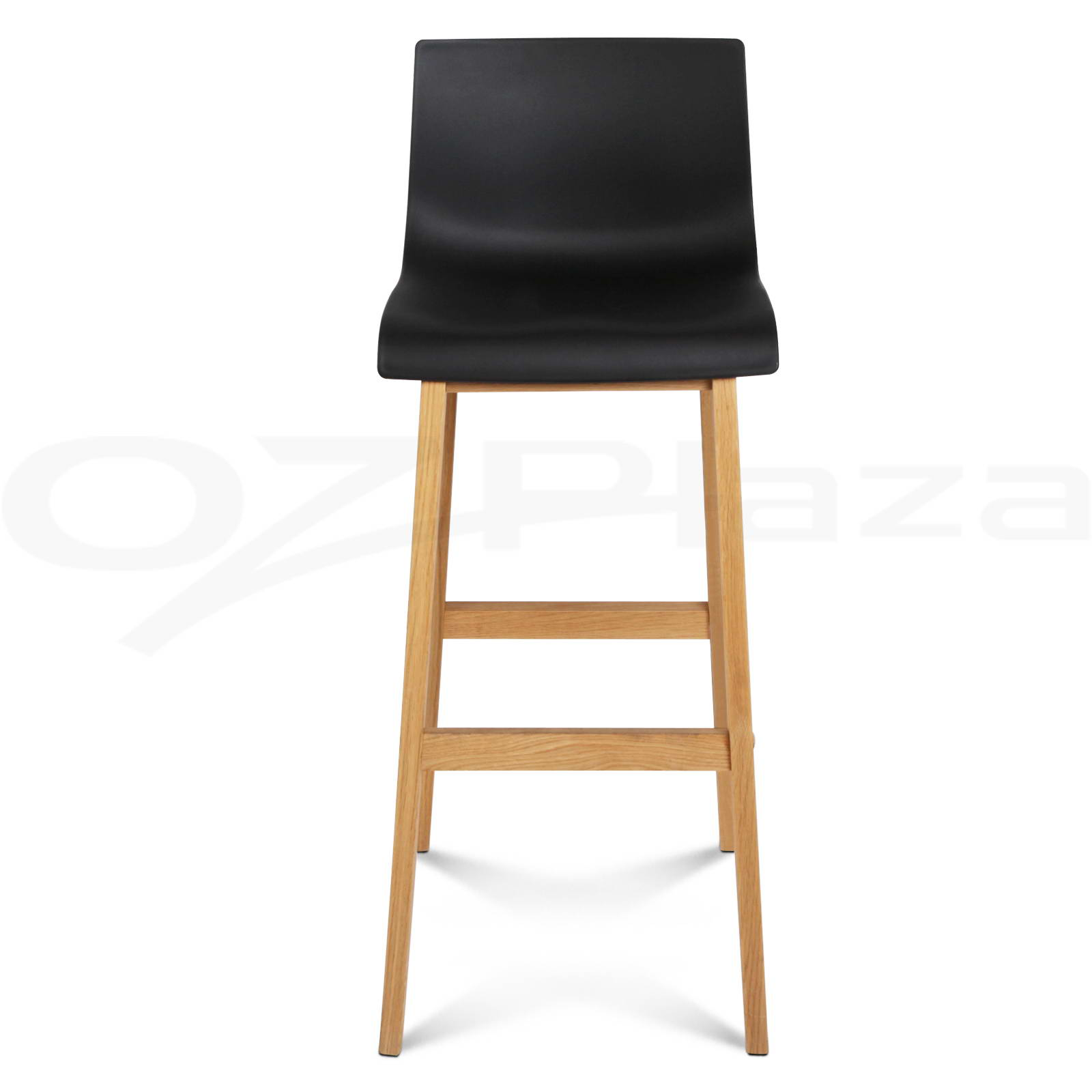 2x Oak Wood Bar Stools Wooden Barstool Dining Chairs Kitchen Plywood Black 36