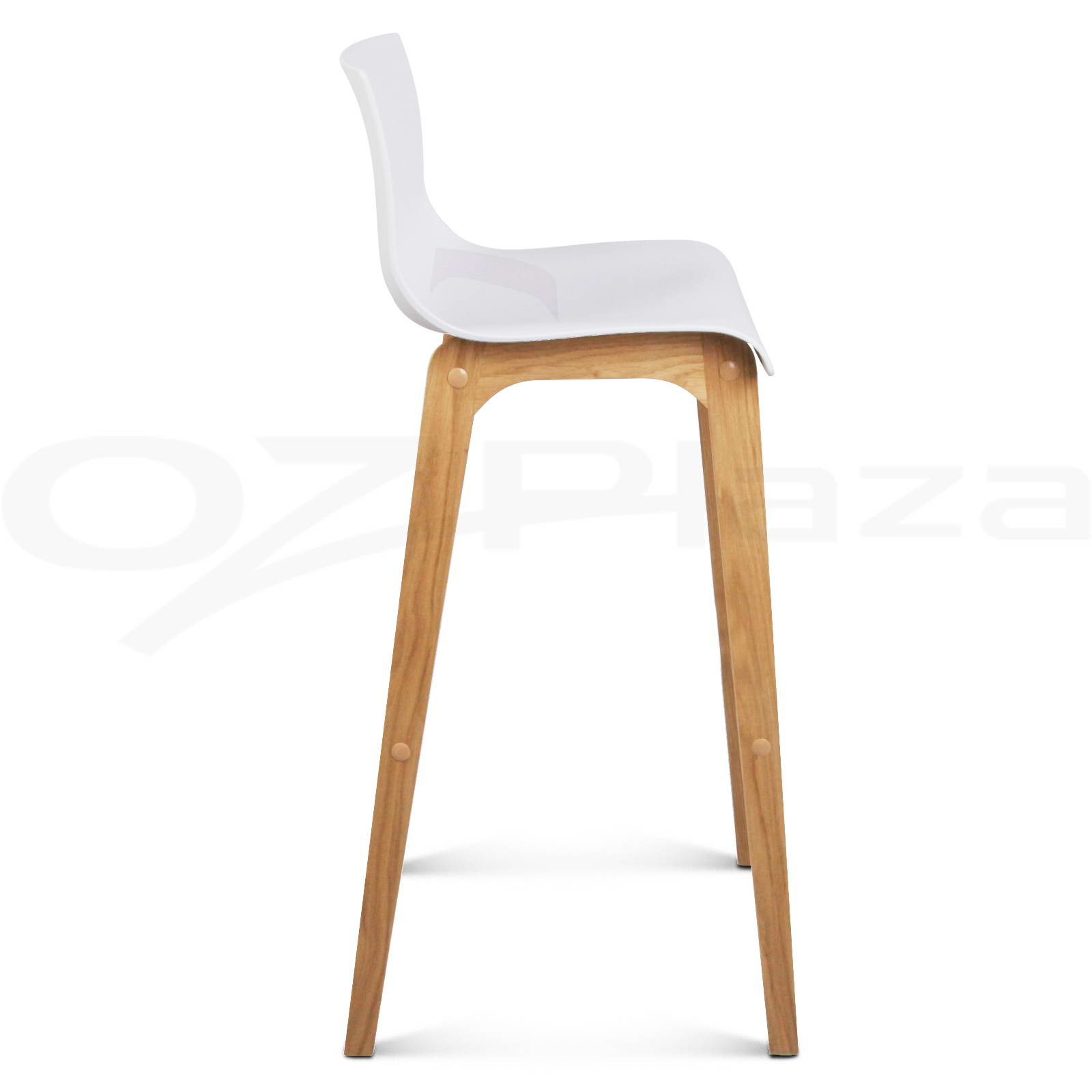 4x Oak Wood Bar Stools Wooden Dining Chairs Kitchen Side Plywood White 3608