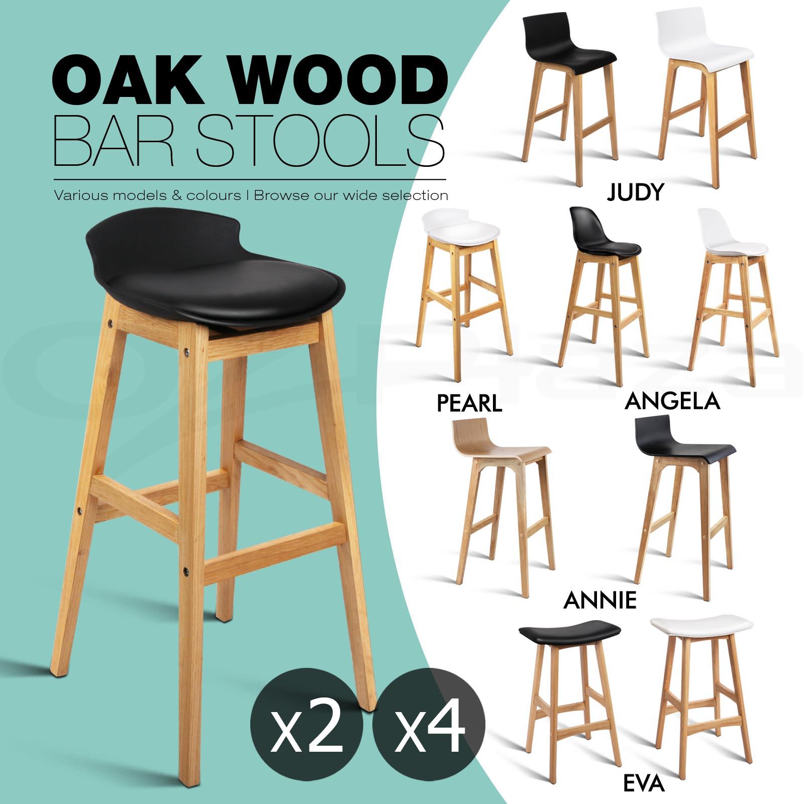 Timber Kitchen Stools: 2x/4x Oak Wood Bar Stool Wooden Barstool Timber Dining