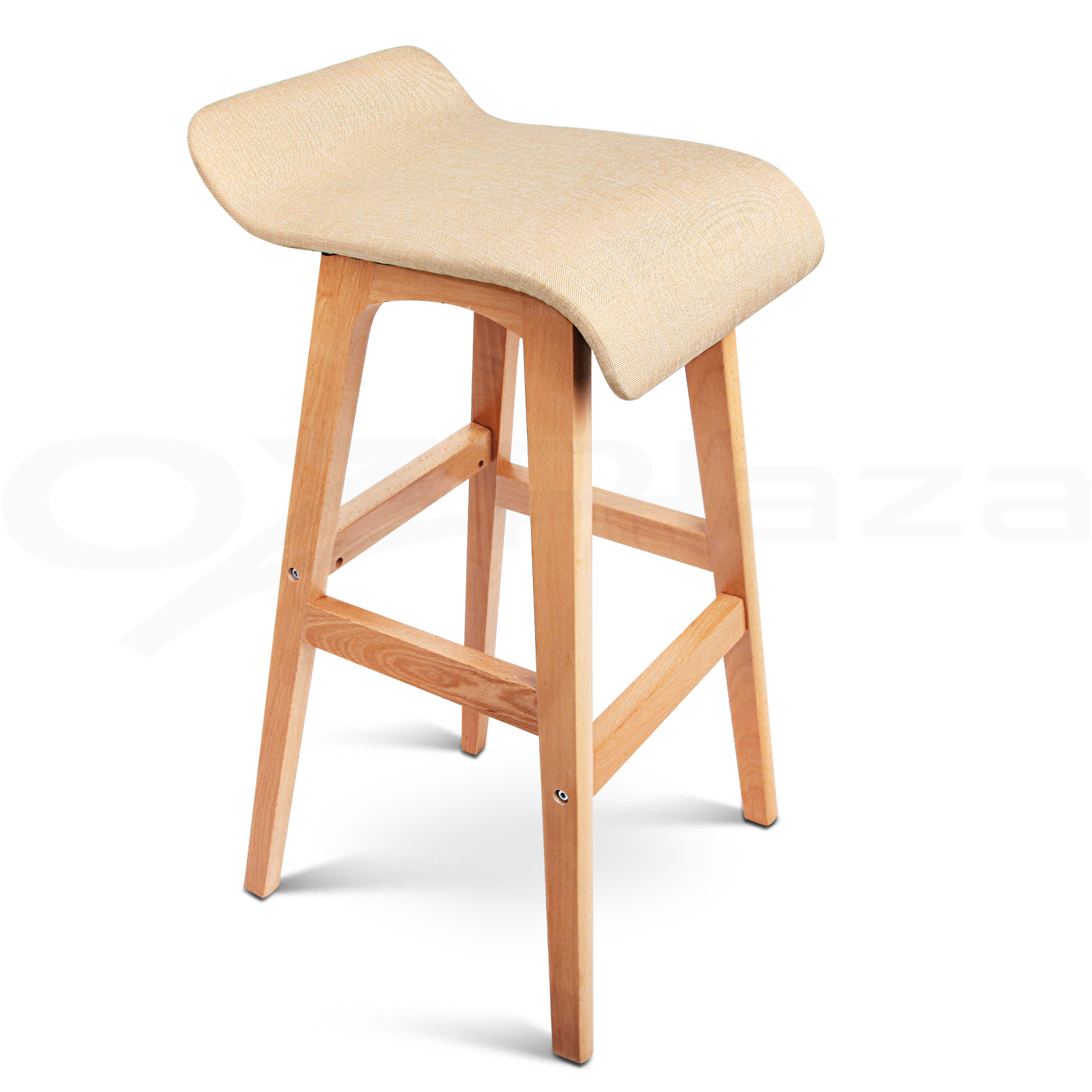 4x Wooden Bar Stools Kitchen Barstool Fabric Foam Seat Dining Chair Beige 156