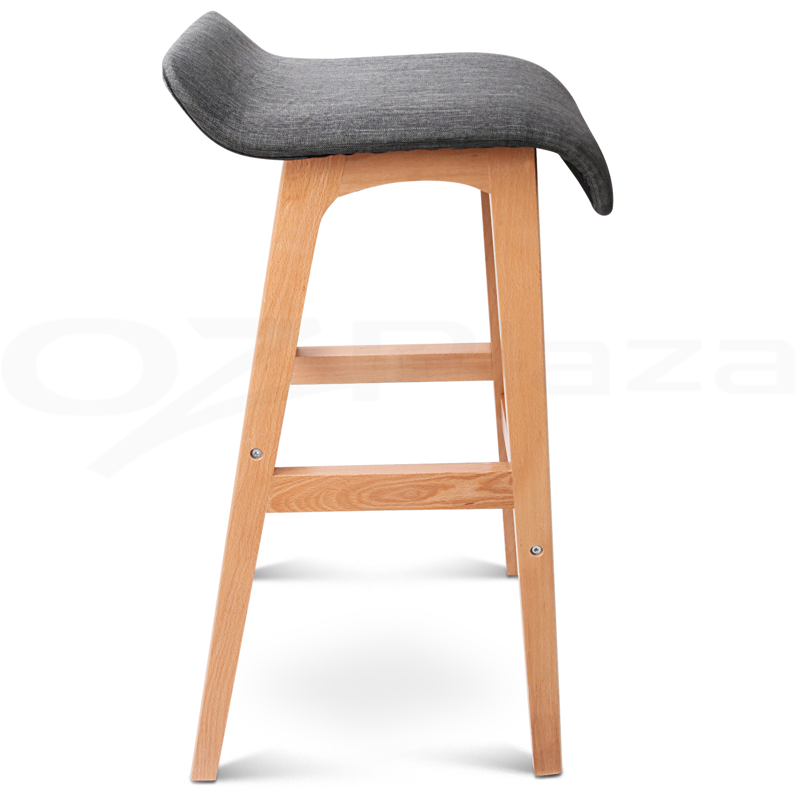 4x Wooden Bar Stools Kitchen Barstool Fabric Foam Seat Dining Chair Black 156