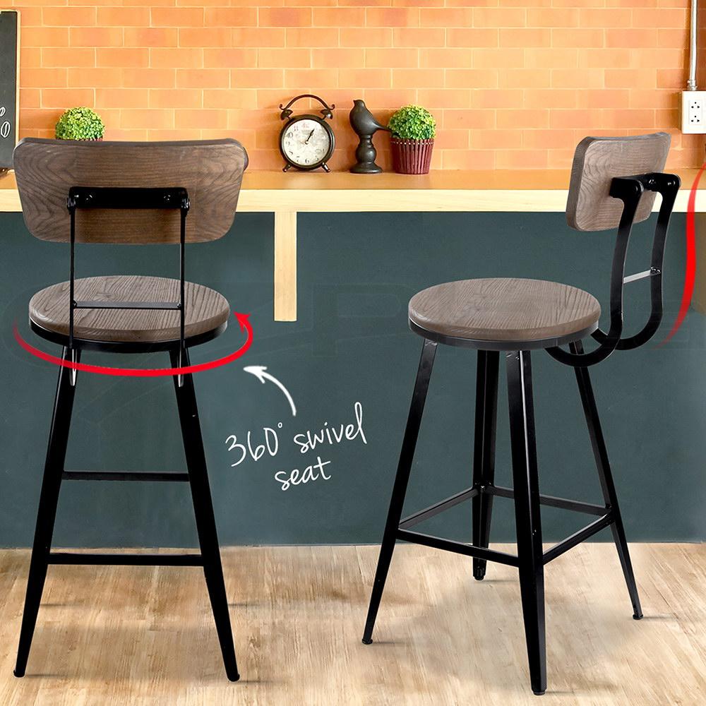 Vintage Rustic Bar Stool Retro Swivel Barstool Industrial Dining Chair 66cm