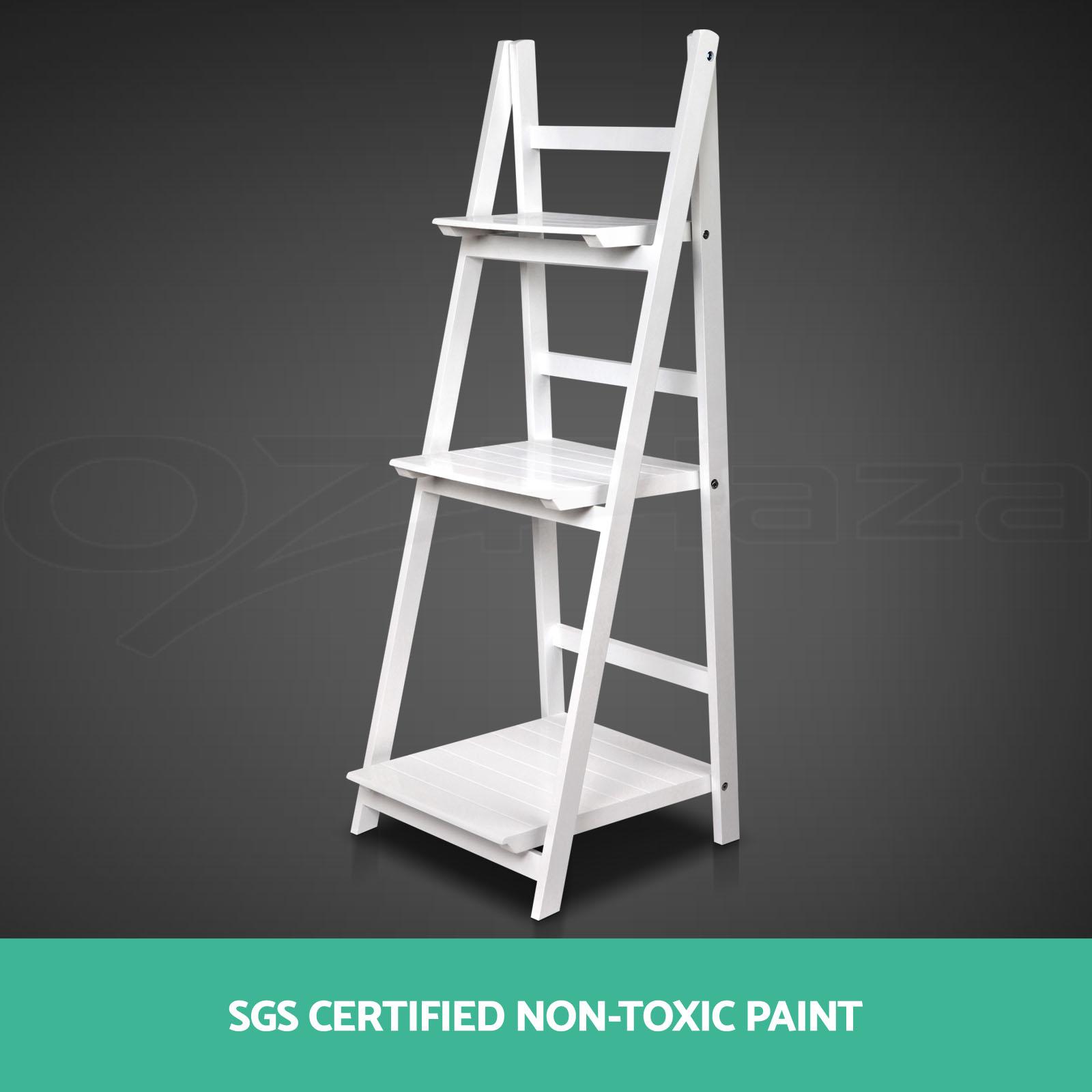 Tiered Display Shelves ~ Wooden ladder shelf tier stand storage book shelves