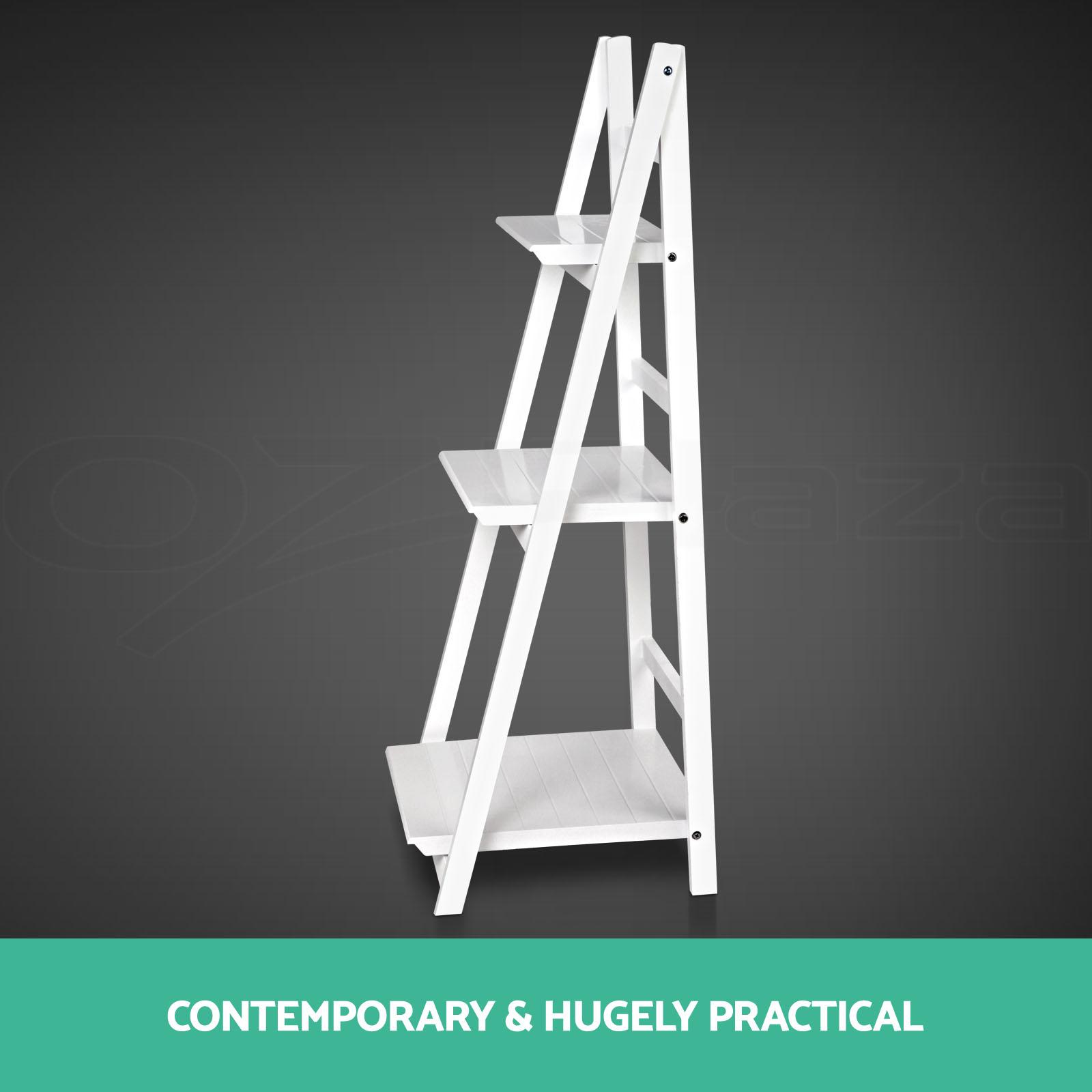 wooden ladder shelf 3 tier stand storage book shelves. Black Bedroom Furniture Sets. Home Design Ideas