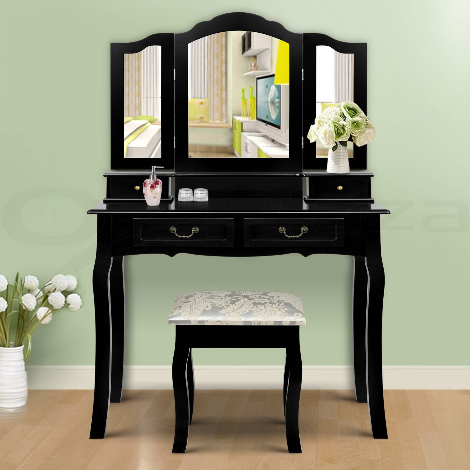 Luxury Dressing Table Stool Mirrors Jewellery Cabinet