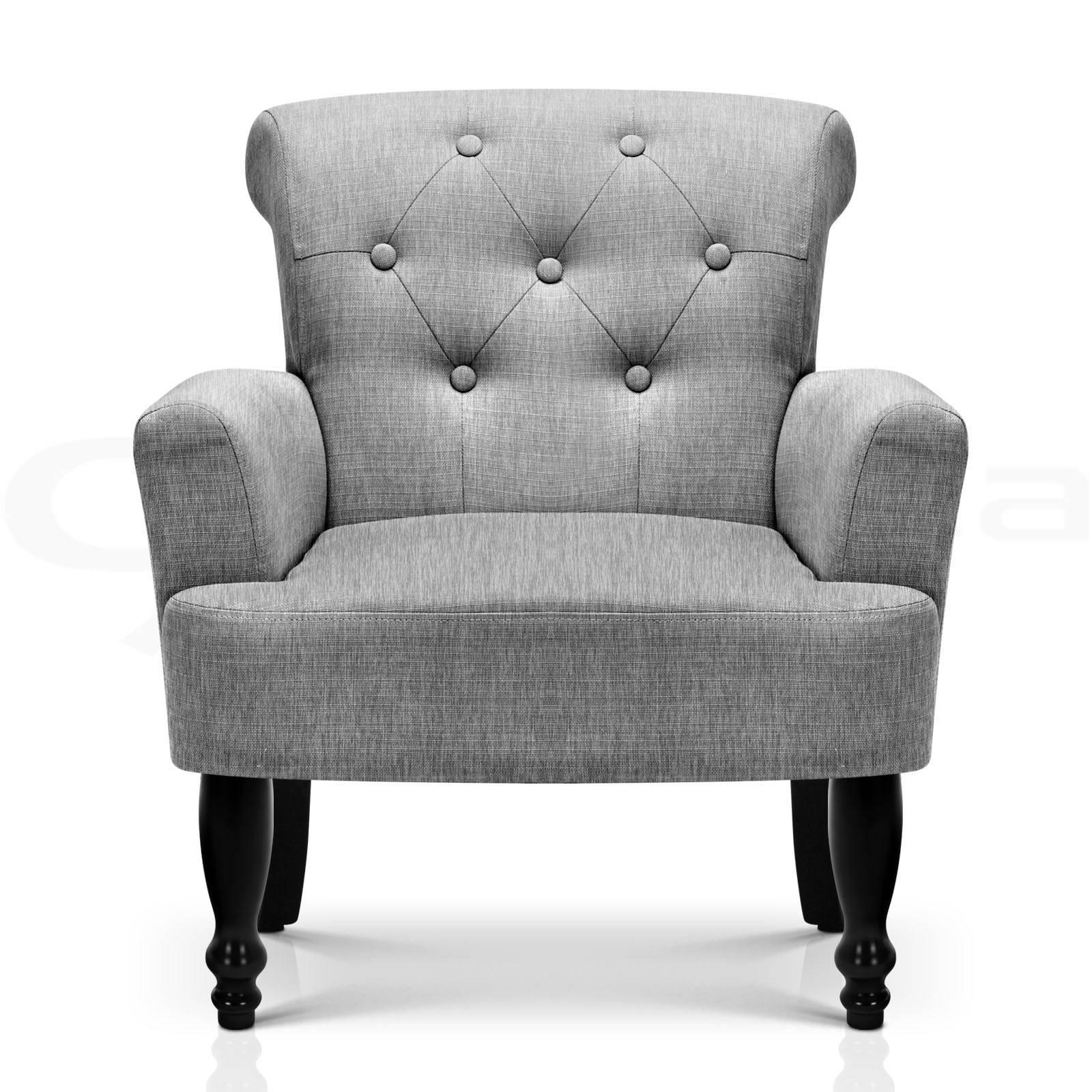 Lorraine Wingback Armchair Tub Lounge Wing Sofa French Linen Fabric Grey AU