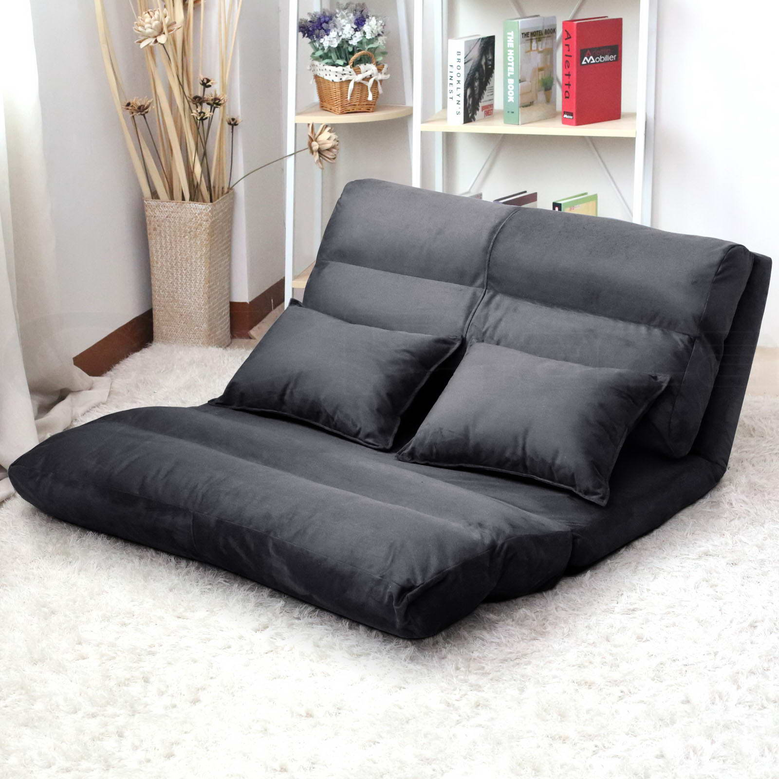 Lounge sofa bed double size floor recliner folding chaise for Floor furniture