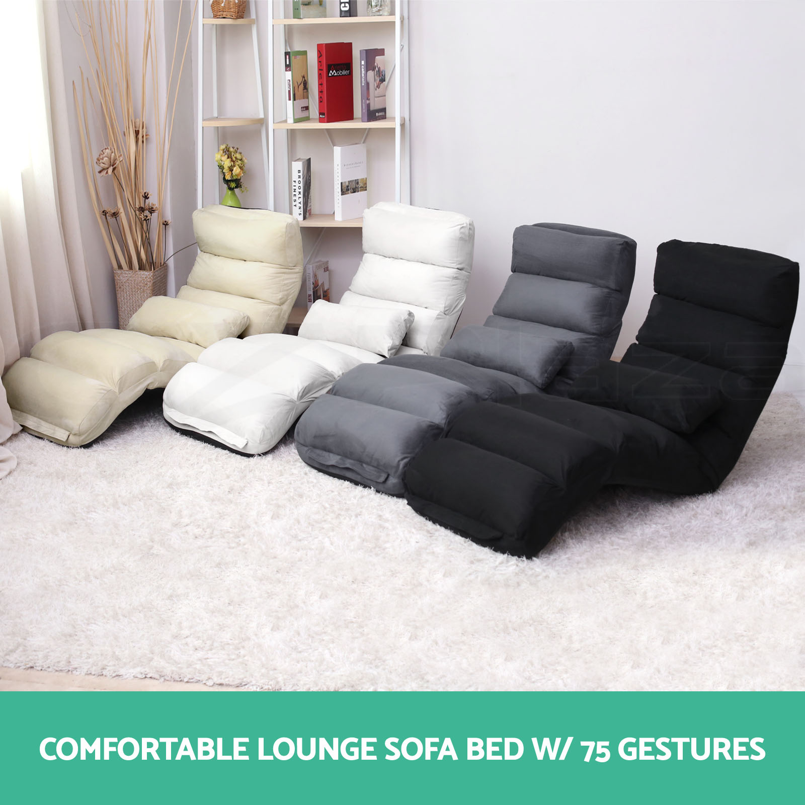 Lounge sofa bed floor recliner folding chaise chair for Couch lounge