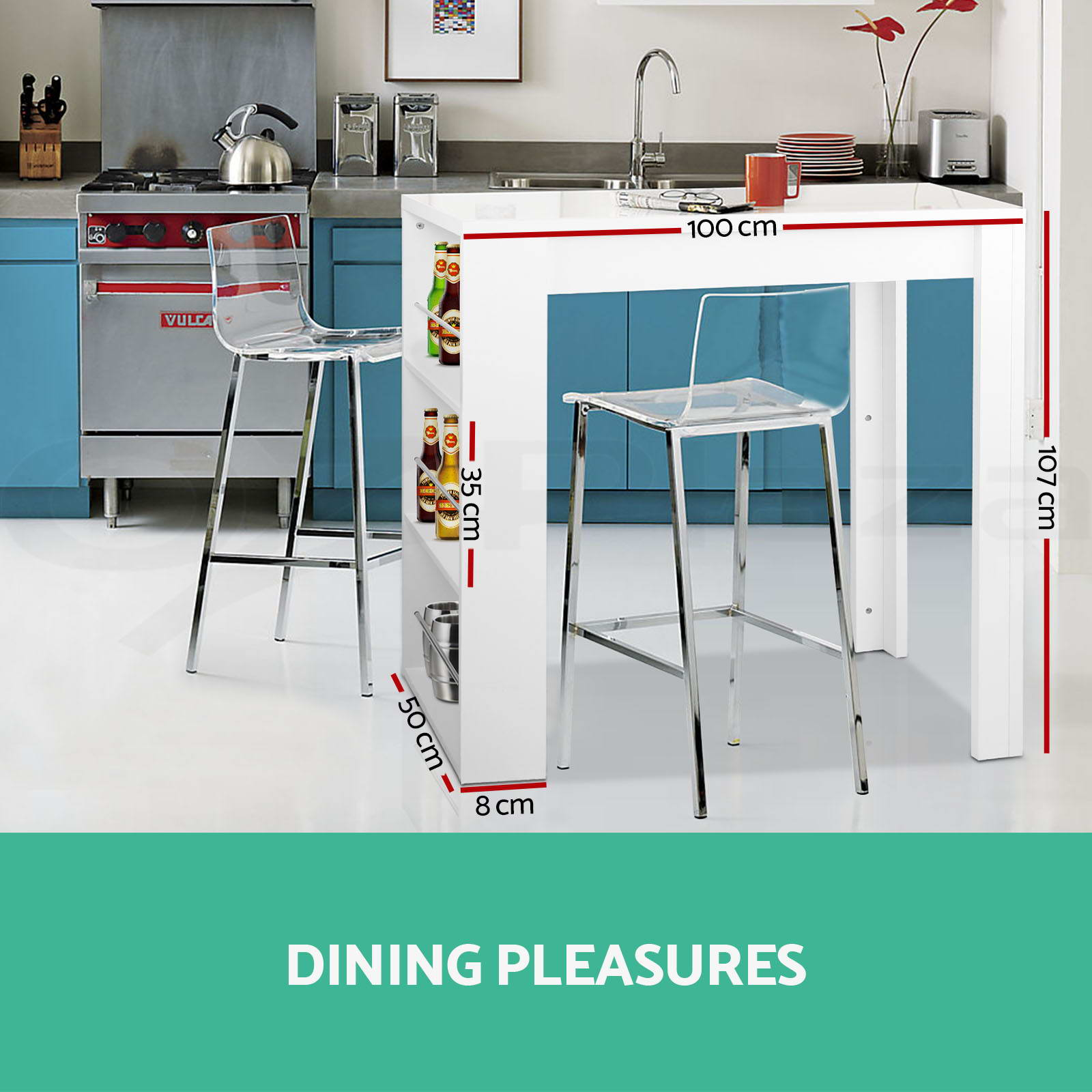 Artiss Bar Table Breakfast Drinks Dining 3 level shelf Wine Office Kitchen