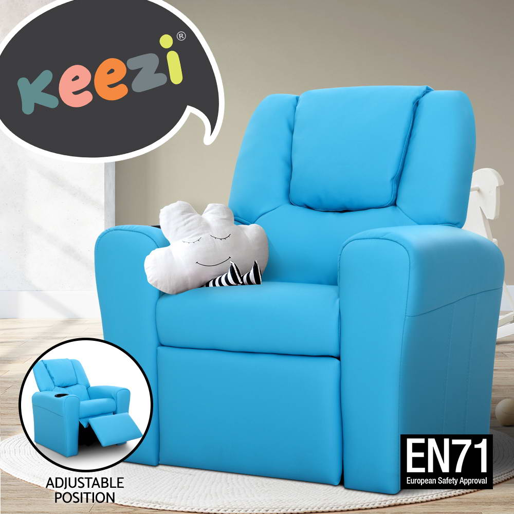 Kid recliner sofa children kids lounge chair leather arms for Toddler lounge chair