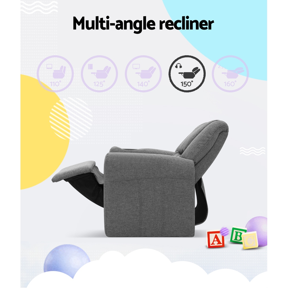 Kid recliner sofa children leather fabric arms chair black for Kids chair leather