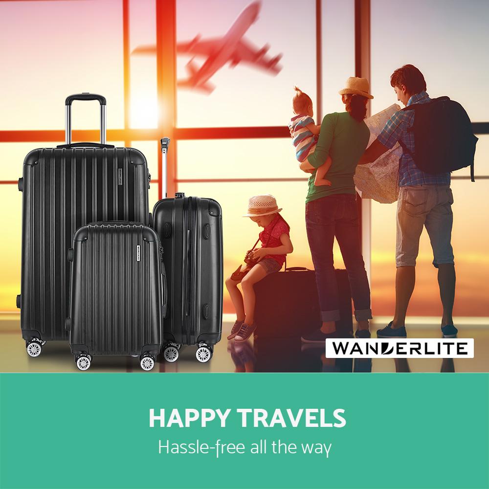 """Wanderlite Wanderlite 20"""" 24"""" 28"""" Luggage Suitcase Trolley TSA Travel Bag"""