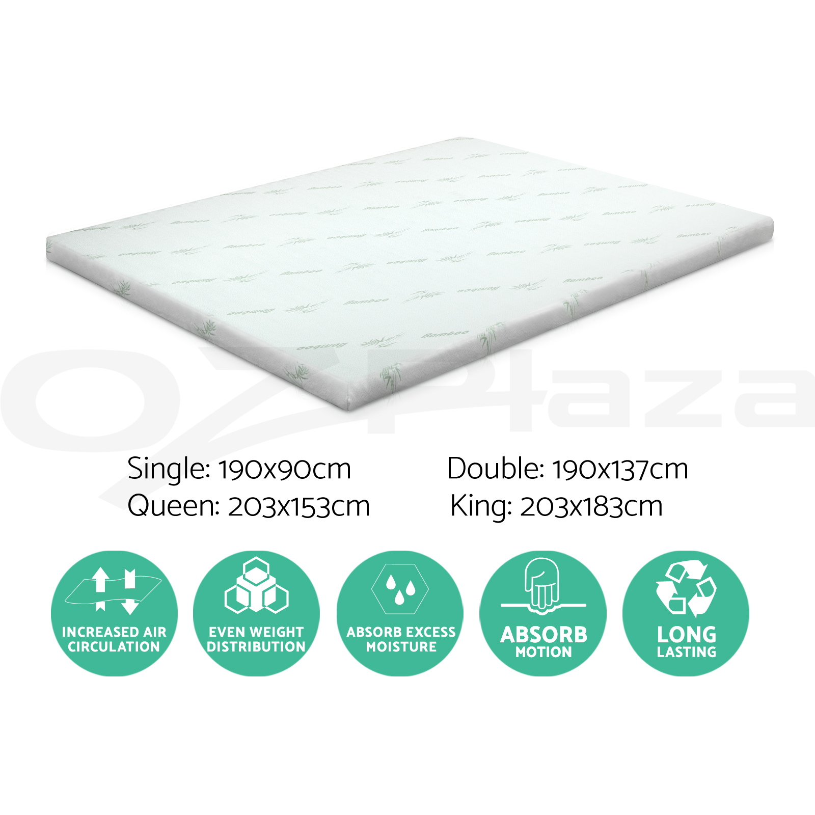 Giselle Bedding COOL GEL Memory Foam Mattress Topper BAMBOO 8CM 5-Zone S D K Q