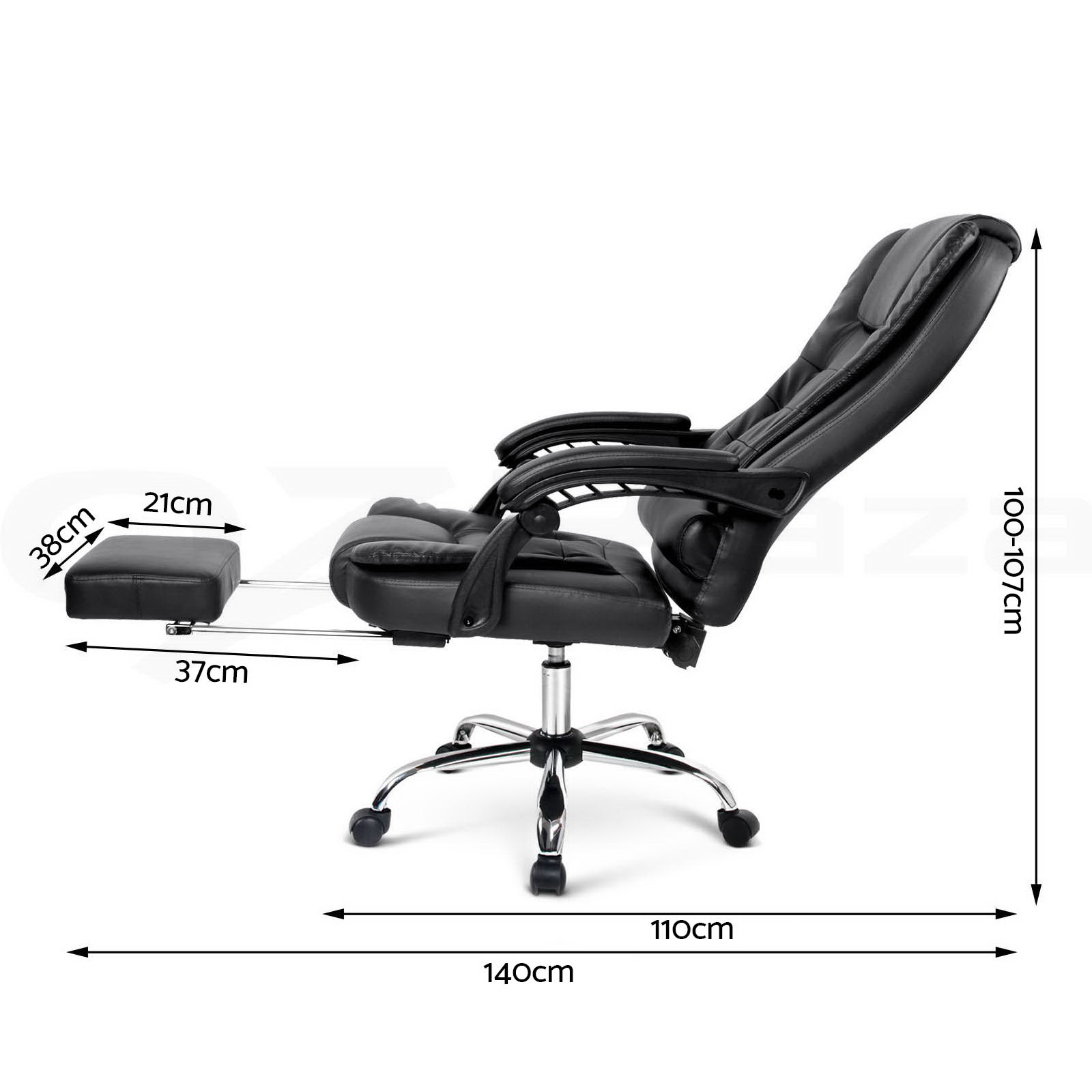 Executive Office Computer Chair Recliner Work Seat PU Leather Footrest Black