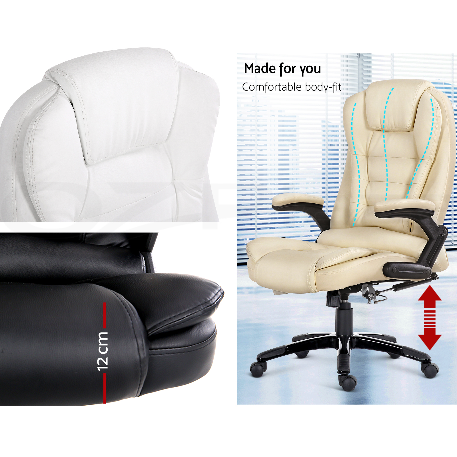 8 Point Massage Office Chair Racing Executive Heat Recliner Computer PU Leather