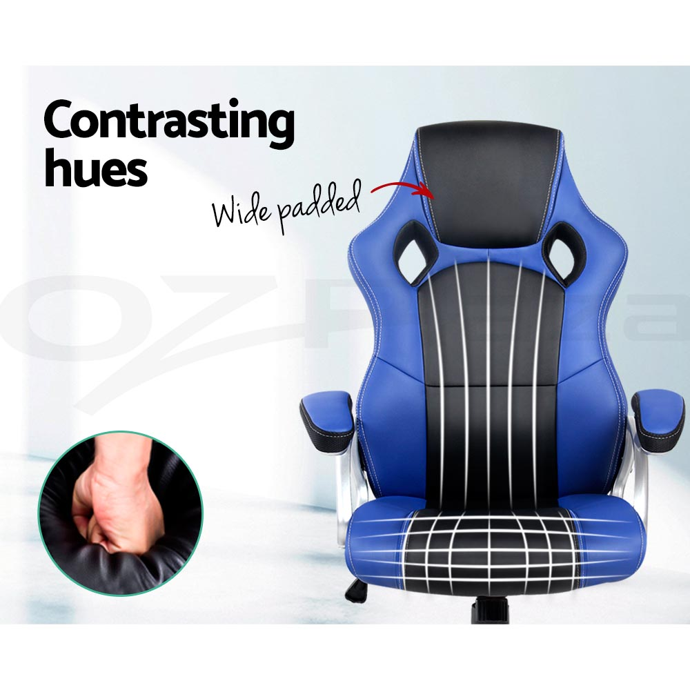 PU Leather Racing Office Chair Sport Executive Computer Home Work Black Blue Red
