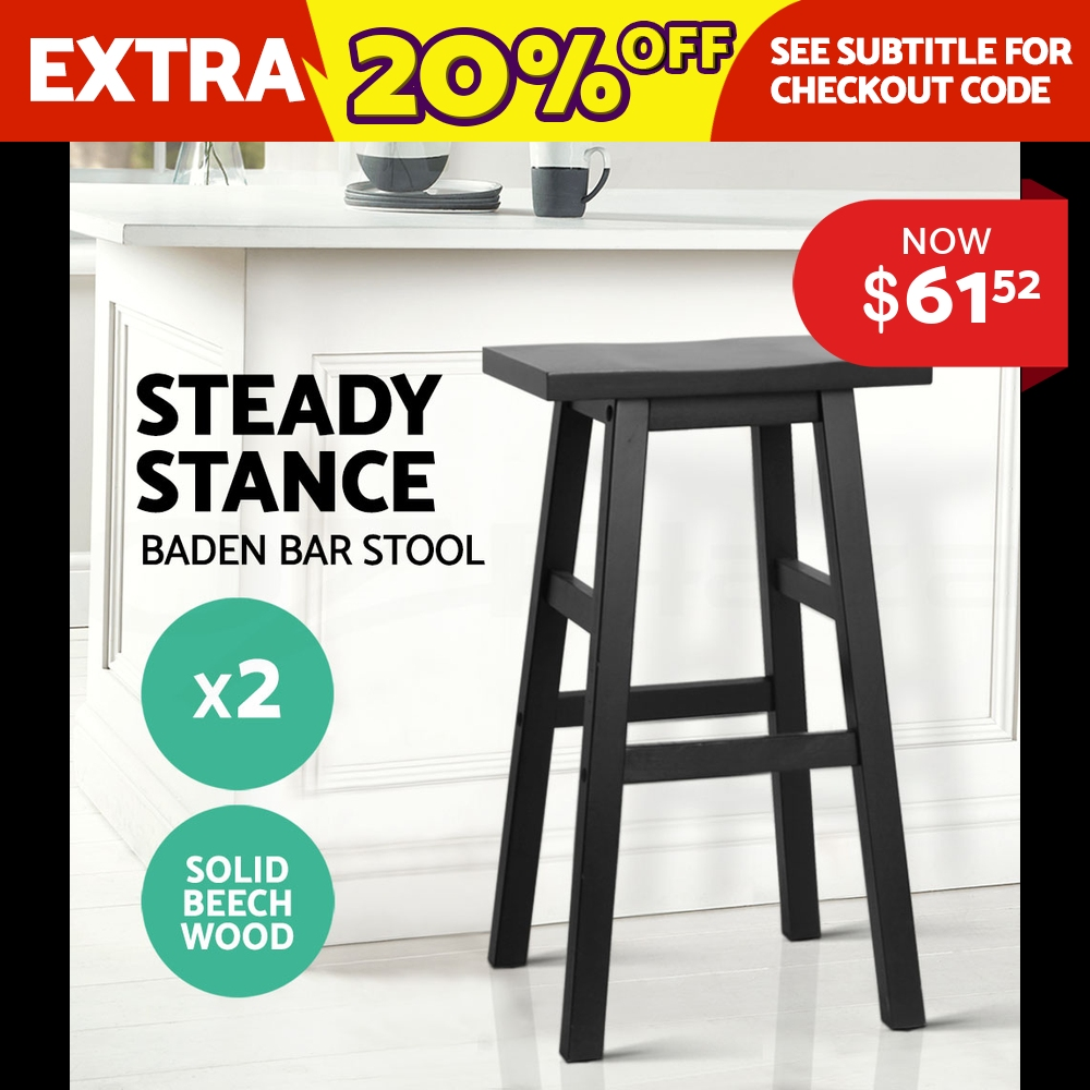 2x BADEN Wooden Bar Stool Dining Barstool Chairs Kitchen Bistro Cafe Black
