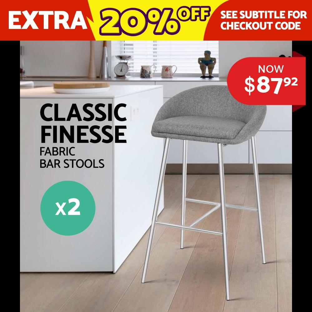 2x Bar stool Fabric Barstool Kitchen Dining Chair Chrome Steel Legs Grey 5902