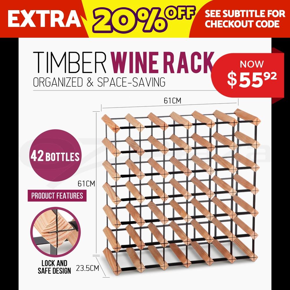 Artiss 42 Bottle Timber Wine Rack Wooden Storage Cellar Vintry Organiser Stand
