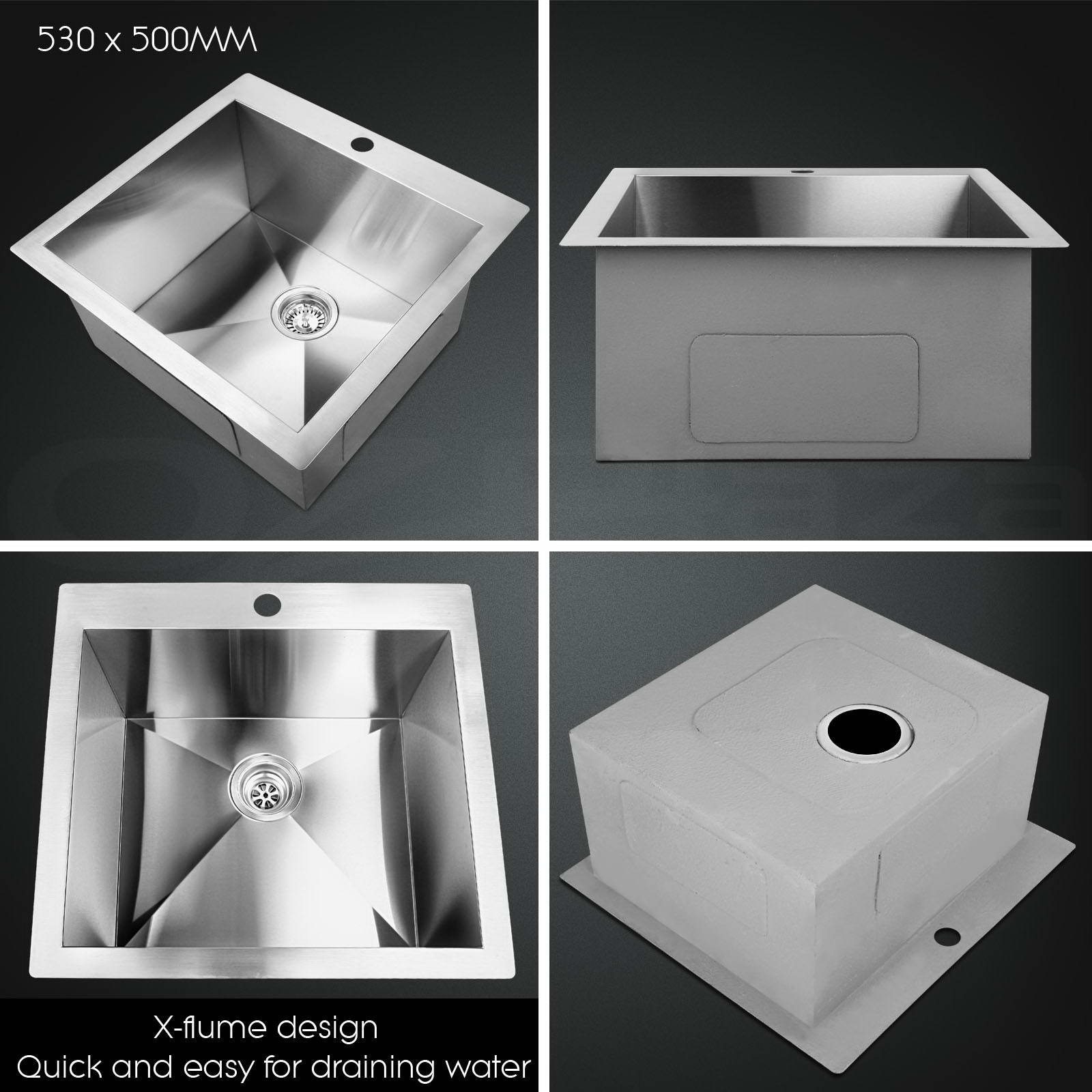 Cefito Stainless Steel Kitchen Sink Under/Topmount Handmade Single Double Bowl