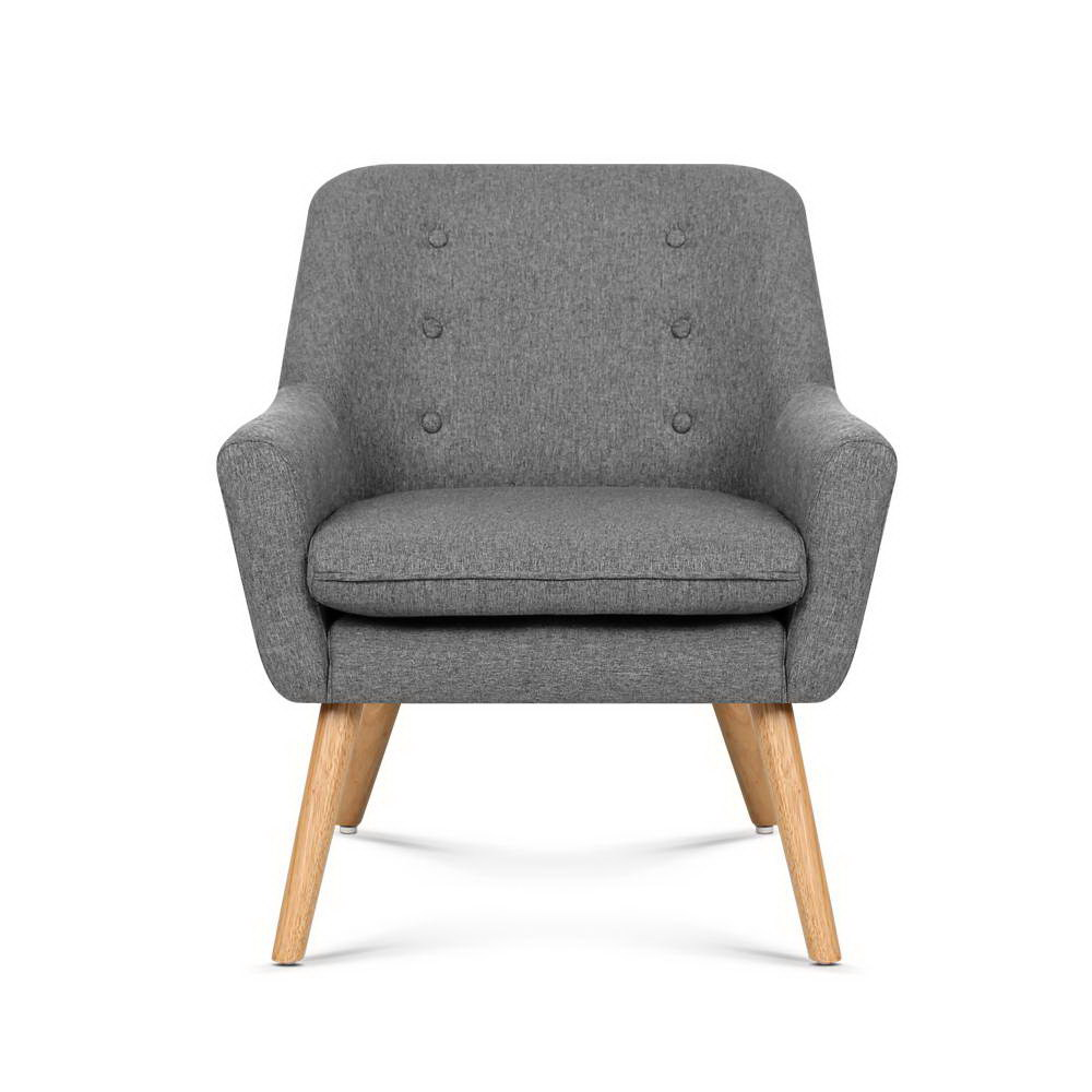 Artiss ANNE Armchair Tub Dining Chair Single Accent Sofa Lounge Fabric Grey
