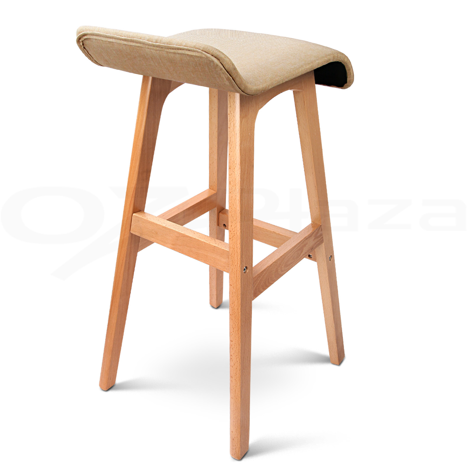 4x Wooden Bar Stools Kitchen Barstool Fabric Foam Seat