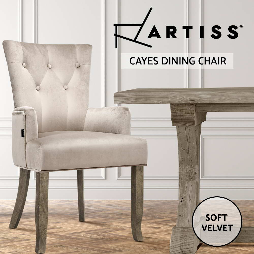 thumbnail 27 - Artiss Dining Chairs Fabric French Provincial Chair Wooden Kitchen Cafe x1/2/4/6