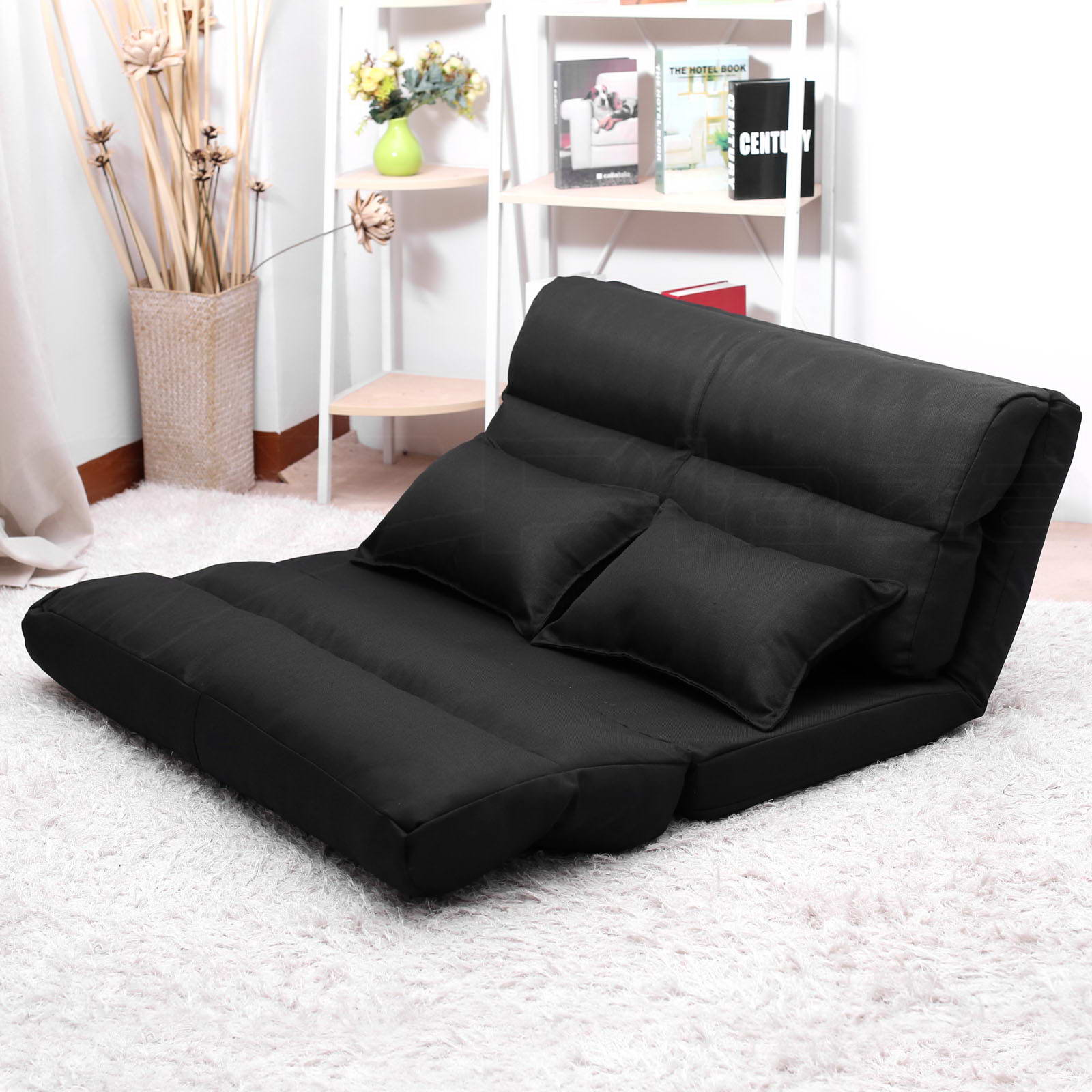 Lounge sofa bed double size floor recliner folding chaise for Chaise longue double sofa bed